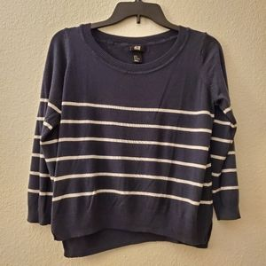 H&M Navy Blue & Whi Sweater Sz M